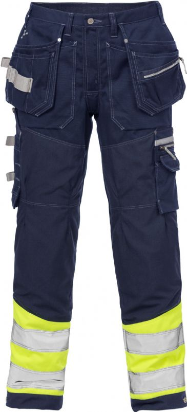 Fristads High Vis Gen Y Craftsman Trousers CL 1 2127 CYD (High Vis Yellow/Navy Blue)